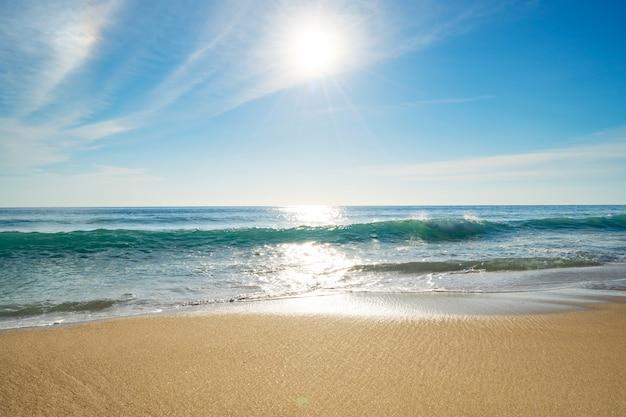 현실적인 태양 자연 보기 여름 화창한 날 바다 위에 아름 다운 태양 빛 플레어와 바다 바다의 수평선 화창한 여름 배경입니다.