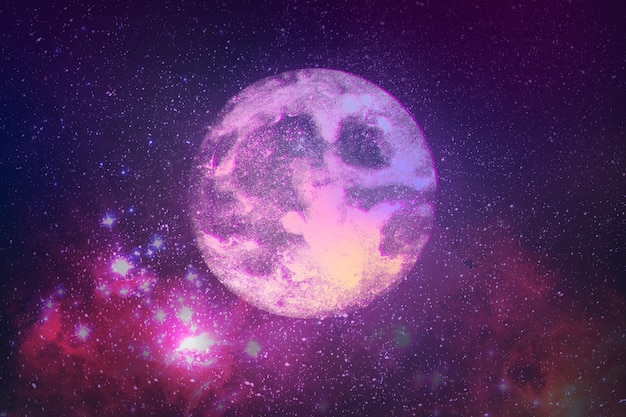 Realistic super moon on sky background