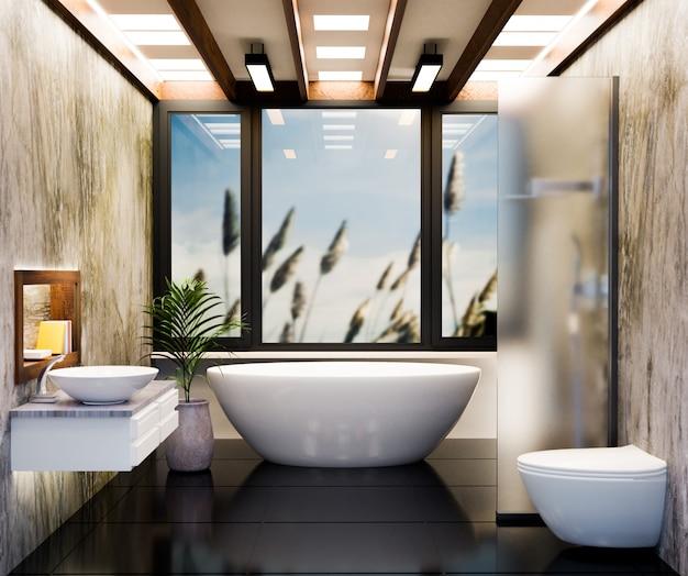 Реалистичный туалет или комната отдыха, рендеринг 3d иллюстраций