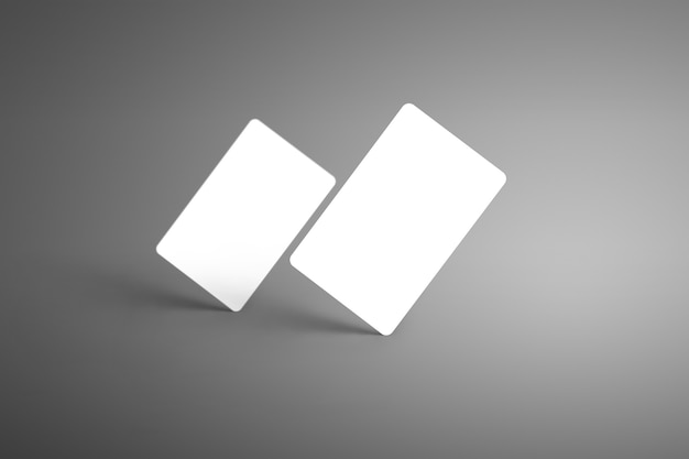 Realistic two white bank gift cards standing on the corner with shadows isolated background. ready to used in your showcase.