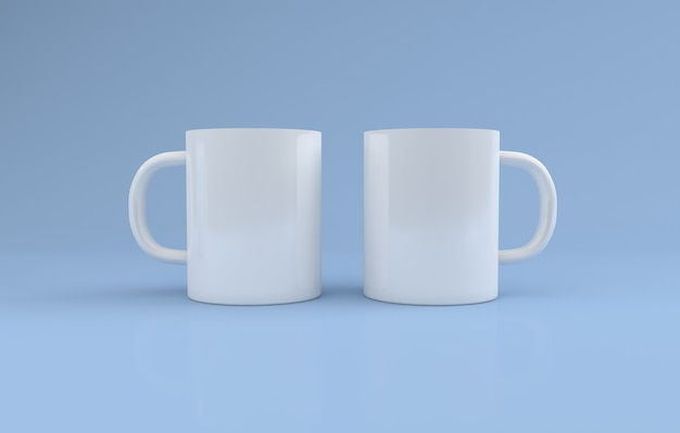 Realistic two white mugs mockup 3d rendered