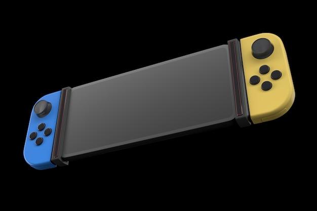 黒で隔離の携帯電話に接続されたリアルなビデオゲームコントローラー
