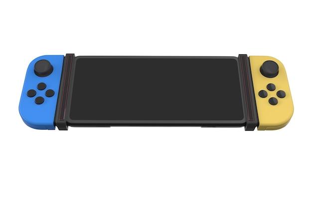 흰색으로 격리된 휴대폰에 연결된 현실적인 비디오 게임 컨트롤러