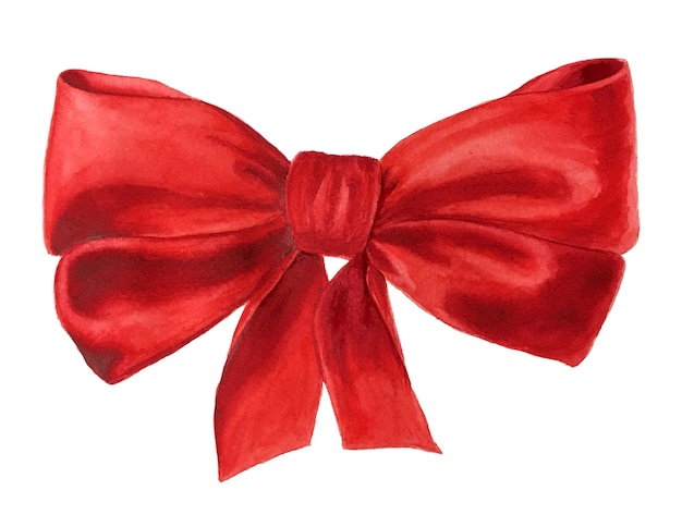 Realistic vintage watercolor red bow