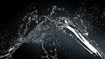 Realistic water splash on dark background