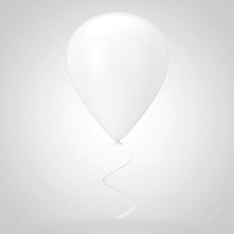 白い背景の上の現実的な白い空白のモックアップバルーン。 3dレンダリング