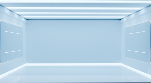 Реалистичная белая научная фрикционная комната, пустая комната 3d, рендеринг 3d иллюстраций