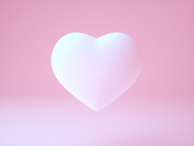 Realistic white soft pink 3d illustration of  heart on light pink background the main message all around love - illustration
