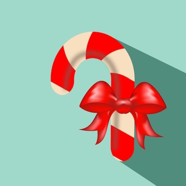 파란색 배경에서 현실적인 크리스마스 사탕입니다. 평면 스타일의 아이콘에 대한 상위 뷰입니다. 크리스마스와 새 해에 인사말 카드 서식 파일입니다.