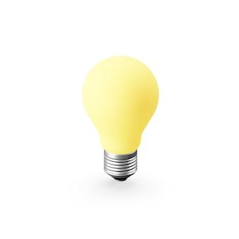 リアルな黄色の電球のアイコン。 3dレンダリング。