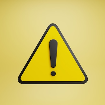 Realistic yellow warning sign