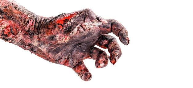 Realistic zombie hand with wounds and blood, isolated white surface, copyspace.