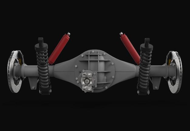 서스펜션 및 브레이크가 장착 된 리어 액슬 어셈블리 레드 댐퍼