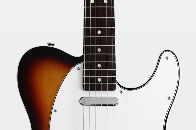 Rear detail body electric guitar telecaster flame on white background