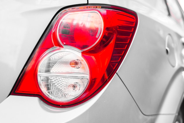 Rear light on new silver car