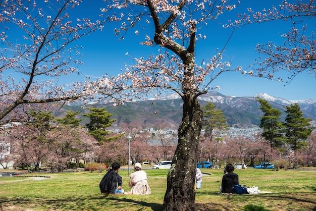일본 나가노의 봄에는 중앙 알프스 산과 푸른 하늘이 있는 마츠모토 공원의 벚꽃 나무 아래 일본 사람들이 앉아 있거나 하나미가 있습니다. 주말 가족 활동 또는 홀데이 여행 휴가 개념.