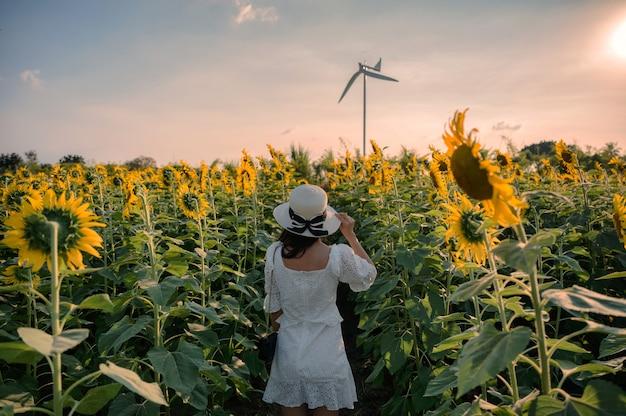 Задняя часть молодой азиатской женщины жизнерадостной стоя в поле подсолнечника на закате