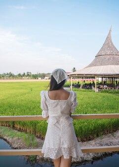 맑은에 시골에서 짚 파빌리온과 논을보고 흰 드레스에 젊은 아시아 여자의 후면