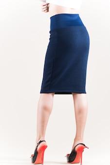 Rear view of beautiful slim unidentified woman