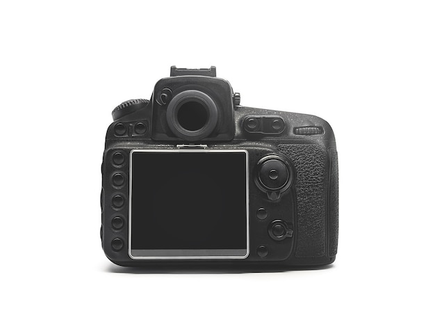 Rear view of a black digital camera isolated on a white background.