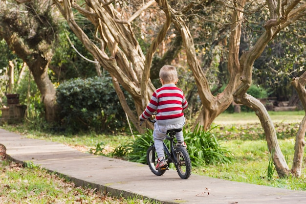 Rear view of boy riding bicycle on concrete path