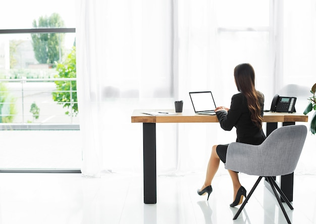 Rear view of a businesswoman using laptop in the modern office interior