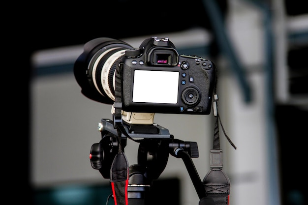 The rear view of the camera the live event with clipping path of live view camera