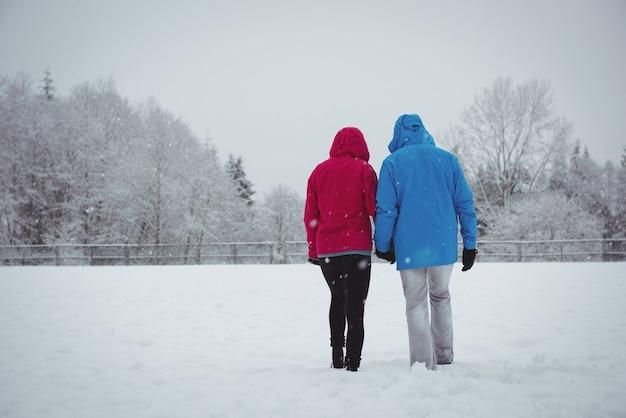 Rear view of couple walking in snowy landscape