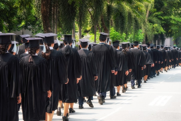 Rear view of group of university graduates in black gowns lines up for degree in university graduation ceremony.