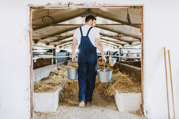 Rear view of handsome caucasian farmer in overall holding buckets in hands with animal food. stable interior.