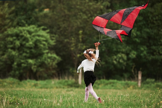 Rear view. happy girl in casual clothes running with kite in the field. beautiful nature
