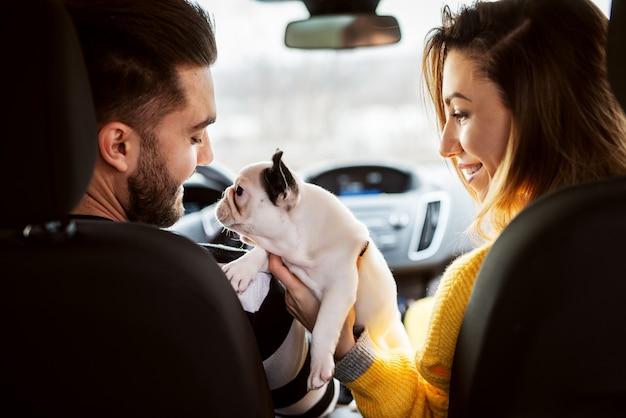 Вид сзади в машине привлекательной молодой улыбающейся влюбленной пары, играющей со своей очаровательной собачкой.