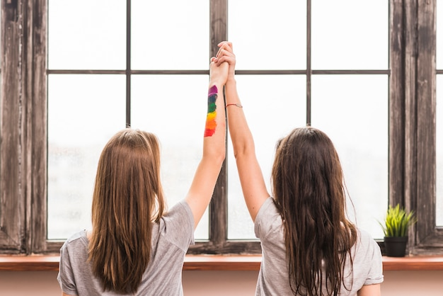 Rear view of lesbian young couple holding each other's hands standing in front of window