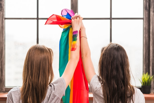 Rear view of lesbian young couple holding hands and rainbow flag looking at window