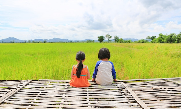 Rear view of little asian children relaxed sitting on bamboo litter at the young green paddy fields with mountain and cloud sky.