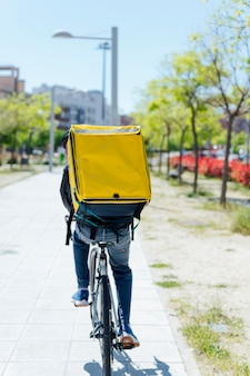 A rear view of male bicycle courier delivering packages in city