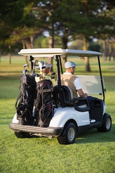 Rear view of male golfer friends sitting in golf buggy