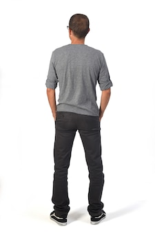 Rear view of a man hands in the pockets