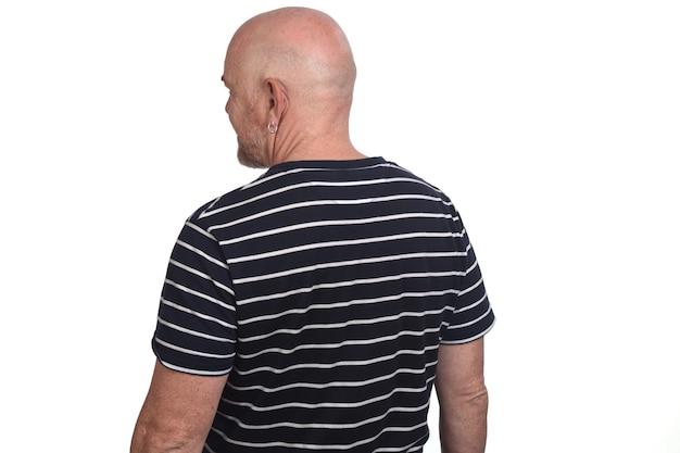 Rear view of man wearing striped t-shirt