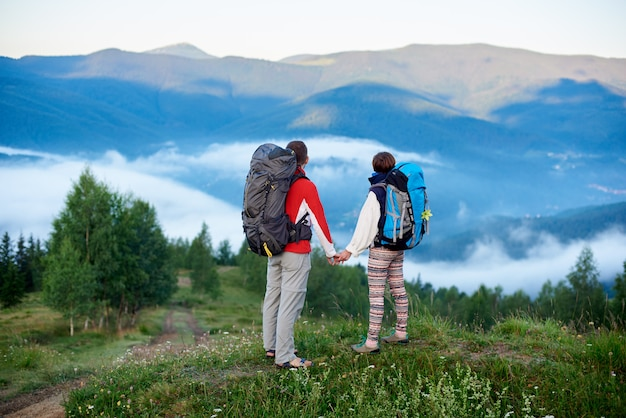Rear view man and woman with backpacks holding hands on top of a hill with a view of the mountains in a light haze and a path to them