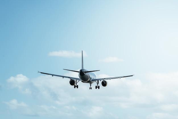 Вид сзади на полет в ясном голубом небе