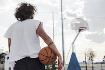 Rear view of a man with basketball