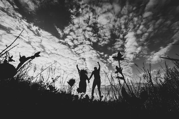 野原の芝生の上を歩いているロマンチックな男性と女性の背面図、素晴らしい夕日を楽しむ自然。手をつないで素敵な家族の概念。立ってジャンプする若いカップル。黒と白の写真。