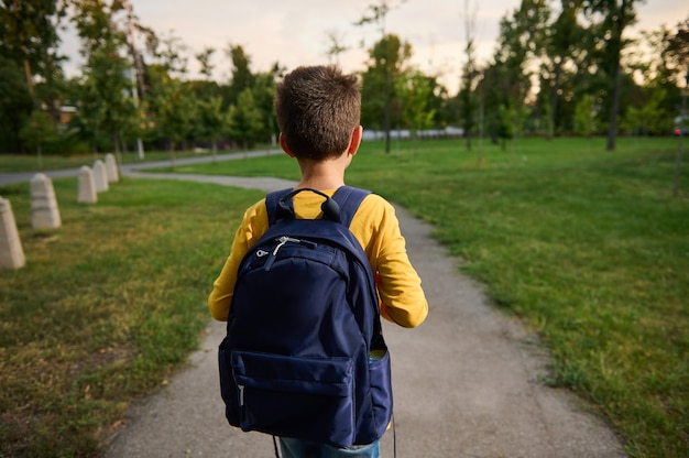 公共の公園の小道を歩いて、放課後帰宅するランドセルのバックパックを持つ男子生徒の背面図