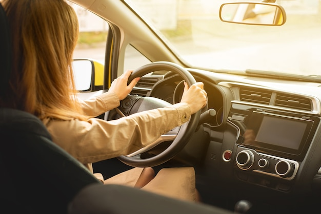 美しい晴れた春の日に運転を楽しんで運転席に座っている若い女性の背面図