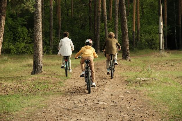 松ぼっくりと乾いた針で円錐形の森の小道に沿って移動しながら自転車に座っている若い親と息子のアクティブな家族の背面図