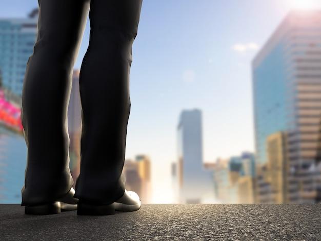都市の景観を背景に立っているビジネスマンの背面図
