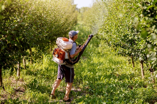Вид сзади кавказских зрелых крестьян в рабочей одежде, шляпу и с современной пестицидов спрей машина на спине, распыления ошибок в саду.