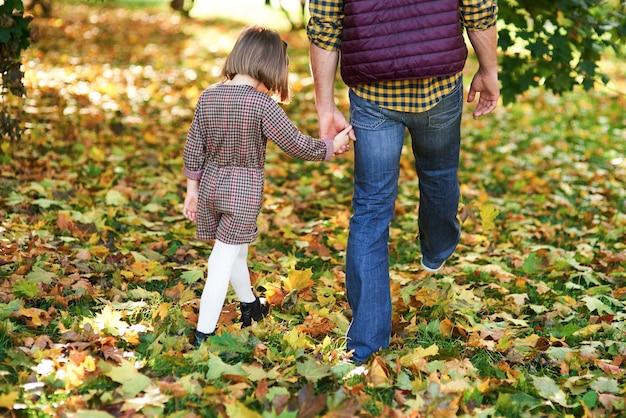 秋の森の中を歩く子供と父の背面図