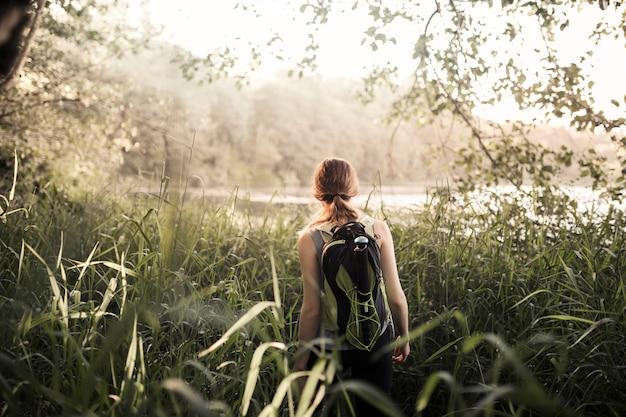 緑色の草の中を歩く女性の登山者の背面図